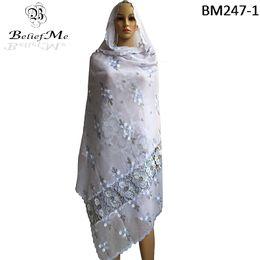 Canada Vente en gros BM247! Écharpes pour femmes africaines, écharpe africaine pour femmes avec broderie musulmane 2017, grande écharpe blanche pure pour enveloppements de châles supplier african scarves wholesale Offre