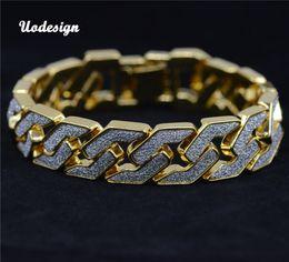 Wholesale Color Wood Beads - Gold silver color Men hip hop bracelet iced out 22.5cm long link chain Exquisite Frosted Bracelets Gifts or Rap Man