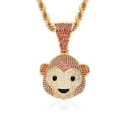 Pequeñas cadenas para hombres online-Iced Out Cute Little Monkey Micro con incrustaciones de circón collar colgante con cadena de cuerda libre Hip Hop joyería para hombres, mujeres