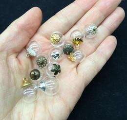 Vial pendant necklace dome on-line-20 conjunto 14 * 4mm globo De Vidro medalhão 4mm oco bolha cúpula tampa desejando frascos de frascos colar de esferas redondas charme frasco pingente diy