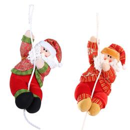 Mall weihnachtsschmuck online-Umweltfreundlich 35cm Plüsch Weihnachtsdekorationen Weihnachtsmann-Puppe Kletterseil-Verzierungen für Window Shopping Mall New Year Party Diy