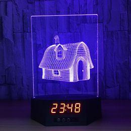 luzes de fadas remotas Desconto 3D casa de fadas ilusão relógio lâmpada night light rgb luzes usb powered quinta bateria ir remoto dropshipping caixa de varejo