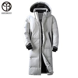 12c2b0573f53 Asesmay brand clothing winter jacket men white color duck down long coat  goose feather thick casual parkas hoodies male jackets