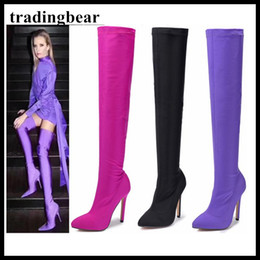 Wholesale Thigh High Cloth Boots - Sexy Purple Pointy Toe Thigh High Heel Boots Over The Knee Lycra Black Pink Size 35 To 40