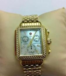 Robe en or des femmes en Ligne-Hottest- Michele Deco Diamond Chronograph / jour / date entièrement fonction montre à quartz doré
