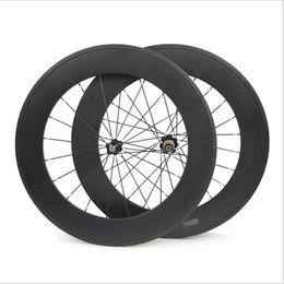 Трубчатое освещение онлайн-88 мм полный углерода колеса велосипеда передние или задние 700C дорожный велосипед колеса легкий вес 3k глянцевая трубчатая поверхность Novatec концентратор