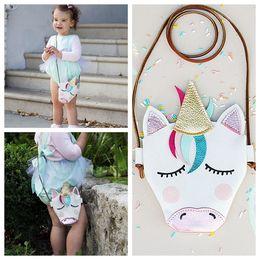 Wholesale cute babies christmas - Kids Mini Shoulder Bags Unicorn Baby Girls Messenger Bag Coin Party Accessory PU Cloth Cartoon Cute unicron Crossbody Bag KKA5138