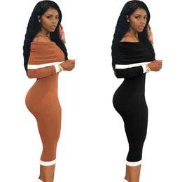 Vestido de textura on-line-Womens dress new sexy off-a-ombro branco lado pit listrado estilo de rua textura do corpo vestido de moda vestidos de festa marrom preto xl 811