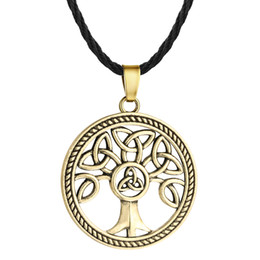 Wholesale celtic knot pendant wholesale - 5pcs lot Celtic Knot Family Tree of Life Round Charm Pendant Necklace For Mens Vintage Silver Rope Chain Collars Unisex Jewelry