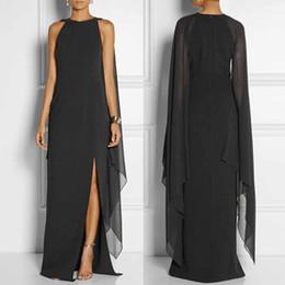 Wavaiov 2018 Sexy asimmetrico nero vestito da partito solido delle donne  maniche lunghe Cape Open manica alta fessura Chiffon abito lungo Maxi  sconti capi ... b60ca7709a9
