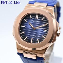 спортивные унисекс механические часы Скидка PETER LEE Sport Classic Men Watch Top  Leather Straps Mechanical Watch Fashion Male Clocks Business Unisex Watches Gift