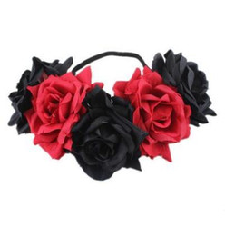 Завитки волос онлайн-Европейские и американские невесты преувеличены взрослый партии аксессуары для волос моделирование цветок эластичный диапазон волос большой керлинг Роза венок headdres