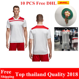 Wholesale Thailand Jersey Wholesalers - Wholesale 10pcs Free DHL new top thailand quality jersey Morocco 2018 World Cup soccer jerseys 5#BENATIA EL 8#AHMADI white Football shirt