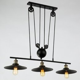 Wholesale rope master - RH Lighting Retro Iron Pulley Pendant Light Loft Vintage Industrial Pulley Rope Antique Edison Bulb Pendant Lamps Black Iron Painted 3 Light