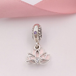 Wholesale Sterling Silver Hang Charms - Authentic 925 Sterling Silver Beads Serene Lotus Flower Hanging Charm Fits European Pandora Style Jewelry Bracelets & Necklace
