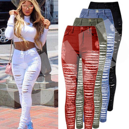 Wholesale denim high waist pants - Sexy Women Destroyed Ripped Denim Jeans Skinny Hole Pants High Waist Stretch Jeans Slim Pencil Trousers Black White Blue