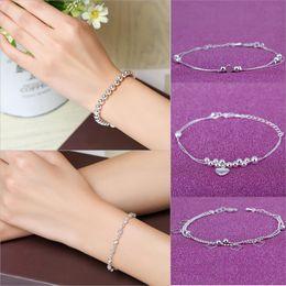 Bracelets de cheville en argent sterling en Ligne-2018 mode élégant en argent sterling 925 bijoux bracelets élégant simple double amour coeur pendentif exquis dames bracelet cheville
