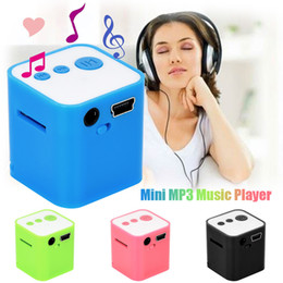 Wholesale Mini Cube Stereo Speakers - Wholesale-overmal Stylish Cube MP3 Portable Mini Stereo Bass Speakers Music Player Wireless Support 8G TF Speaker best Christmas gift
