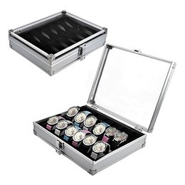 Wholesale watch storage display case - Wholesale-2016 Useful 6 12 Grid Slots Jewelry Watches Aluminium Alloy Display Storage Box Case