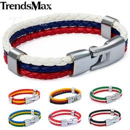 цветные кожаные мужские браслеты Скидка Trendsmax Men's Leather Bracelet National Flag Color ES Spain DE Germany BR FR 3 Strands Mens Wristband Fashion Jewelry 8