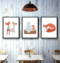 Wholesale Poster Art Deco - Modern Cute Cartoon Animal Fox Bear Friend Poster Nordic Kids Baby Room Wall Art Print Picture Home Deco Canvas Paining No Frame