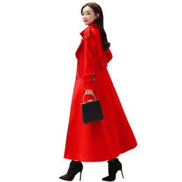 Signore lungo cappotto rosso online-Cappotto di lana lungo rosso donne monopetto addensare cappotto invernale moda donna elegante signore Parka Abrigo Mujer lana C4707
