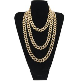 cuban link chain women Coupons - Iced Out Bling Rhinestone Crystal Gold Finish Miami Cuban Link Chain Men And Women Hip Hop Charm Necklace Jewelry