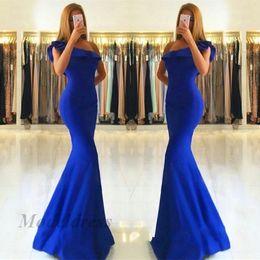 Um vestido decote ombro formal on-line-Azul Royal Um Ombro Vestidos de Baile Sereia Ruffles Decote Bainha de Cetim Até O Chão Formal Mulheres Vestidos de Noite para Ocasiões Especiais