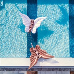 Wholesale Gold Pool - Giant Angel Wings Inflatable Pool Float Gold White Air Mattress Lounger Water Sofa Party Toys Ride-on Swimming Ring OOA4575