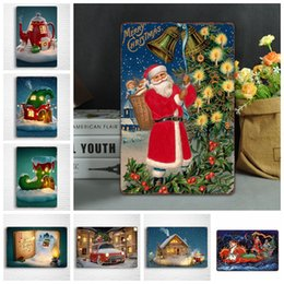 2019 dipinti di natale a parete Christmas Metal Painting Vintage Wall sticker Wall Art Iron Paintings Segni in metallo Tin Plate Bar Bar Garage Decorazione della casa GGA1042 sconti dipinti di natale a parete