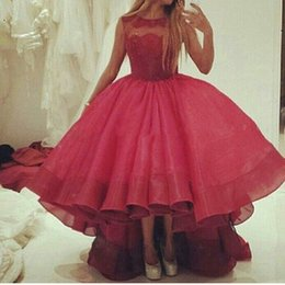 Wholesale Ladies Size 16 Skirts - 2018 Evening Dresses Vestido de Fiesta High Low Organza Ruffles Skirt Ladies Long Prom Party Wear Gown