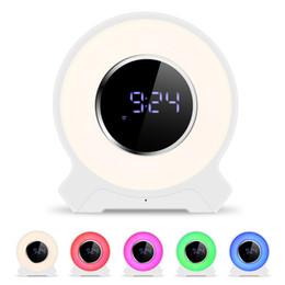 Wholesale mp3 player touch mini - Multisensory Digital Alarm Clock Wireless Bluetooth Speaker F9 Desktop LED Light Touch Lamp Speaker With Mic, FM Radio,TF Card MP3 Subwoofer