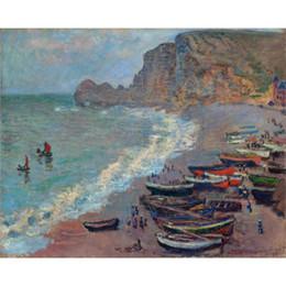 2019 arte de la playa de lona Arte de la pared Pintura al óleo La playa en Etretat Claude Monet obras de arte famosas sobre lienzo pintado a mano rebajas arte de la playa de lona