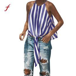 wear striped shirts 2018 - Feitong Sexy Top Summer Beach Wear Shirt 2018 Women's Striped Sleeveless Top O Neck Front Tie Knot Shirt Tops Tanks  PY