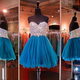gold teal prom dresses Promo Codes - 2019 Free Shipping Teal Blue Sweetheart Strapless Mini Length Crystal Lace Up Back Prom Homecoming Dresses With Beaded Bodice HY1635