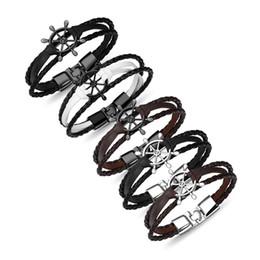 Il più nuovo unisex intrecciato Cuoio del polsino del braccialetto del braccialetto Timone / piuma Braccialetti di fascino della lega tessuta Accessori di moda Regalo per le donne Uomini da