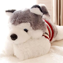 Wholesale Large Sized Cushions - Wholesale- 1pcs size 40 cm Cartoon gray sweater husky dog plush toy child cloth doll Large pillow cushion child Christmas birthday gift