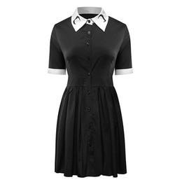 2018 donne moon stampa gotico vintage manica corta colletto turn-down nero  vestito punk harajuku darkness goth abiti plus size 32caf3ae48fc