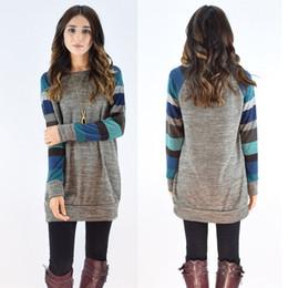 Wholesale Long Tunic Sweater Xl - New Arrival Block Block Striped Long Sleeve Sweatshirt Cotton Jersey Tunic Tops Women's Ladies Sweaters 2018