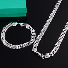 Штампованные 925 серебряных наборов ювелирных изделий онлайн-Горячие продажи продвижение ювелирных изделий 925 штампованные серебряные серебряные ювелирные изделия 10 мм мужские ожерелье и браслет 2 шт.