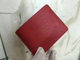 Wholesale ripple red - Famous Brand Designer Red Black Wallet Women Men Fashion Short Purse Card Holders Money Bags Classic Water ripple Pocket Bag