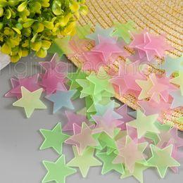 Wholesale Pink Nature - 100Pcs 3cm Luminous Stars Wall Stickers Glow In The Dark Stereo Stars For Kids DIY Wall Art Home Decor DDA568