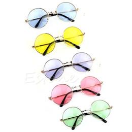 2019 óculos de sol de plástico redondos de amarelo Mulheres Lente Colorida Óculos De Sol Óculos Óculos De Armação De Plástico Retro Rodada Óculos Azul / Amarelo / Rosa / Roxo / Verde óculos de sol de plástico redondos de amarelo barato