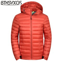 Wholesale Hooded Mens Light Jacket - BTKSYXGS 2017 New winter short design ultra-light thin warm fashion Mens Hooded 90% white duck down jacket coat parka outerwear