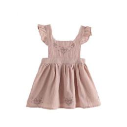 Wholesale Girls Party Frocks - Summer Flower Print Sleeveless Pink Girls Dress Sweet Girls Suspenders Frock Dress Birthday Party Cute Girls Clothing