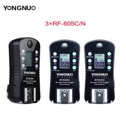 yongnuo rf Rebajas 3pcs YONGNUO RF-605 Disparador de flash inalámbrico RF-605C RF605C RF605N RF-605N para Canon Nikon versión de actualización de RF-603II
