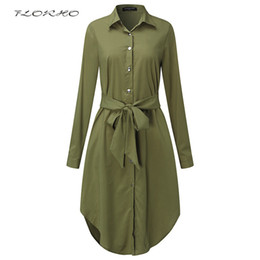 Cinturones midi online-Otoño con cinturón Blusa Camisa Vestido de Las Mujeres Color Sólido Midi Vestidos Femeninos de manga Larga de Gran Tamaño Ropa Casual Túnica Tallas grandes 5XL Y1890703