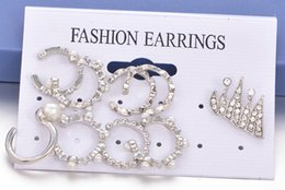 crown stud settings Coupons - 9 Pcs Set Boho Punk Ear Jewelry Collection Crown Beads Pearl Open Piercing Non Piercing Ear Cuff Hoop Earring Ear Crawler Set Free DHL H128R