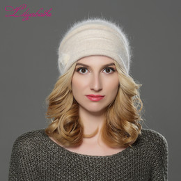 Wholesale Double Ball Wool Cap - LILIYABAIHE NEW Style Women winter Beanies hat knitted wool angora hats Mink balls and pearl decoration cap Double warm hat