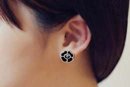 Wholesale Girls 14k Gold Stud Earrings - Latest Brand Letters Earrings Four Leaf Clover Enamel Ear Stud Clips Gold Silver Eardrop Women Girl Wedding Prom Jewelry Accessories